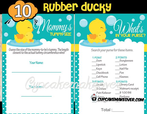 Rubber Ducky Baby Shower Games Package