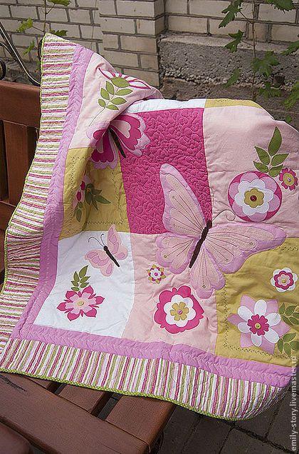 """Детское лоскутное одеяло """"Летнее настроение"""" - розовый,салатовый,бабочки"""