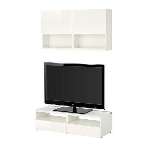 IKEA - BESTÅ, Szafka pod TV, biały/Tofta połysk/biel, , Powierzchnia o wysokim połysku odbija światło i nadaje dynamiczny wygląd.Za panelowymi drzwiami możesz schować swoje rzeczy i ochronić je przed kurzem. Regulowane zawiasy pozwalają regulować drzwi zarówno w poziomie, jak i w pionie.Półki idealnie nadają się do przechowywania płyt DVD, książek i innych drobiazgów. Półki można regulować, dzięki czemu możesz dopasować przestrzeń do przechowywania w zależności od potrzeb. Wbudowany schowek…