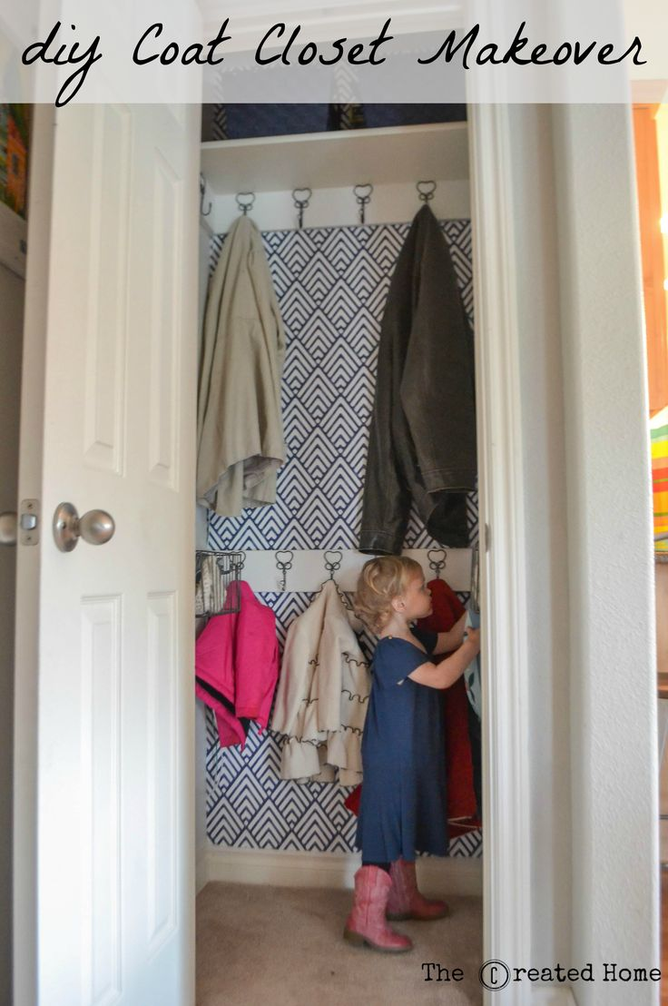 Easy hall/coat makeover. Two rows of coats for a kid friendly design.