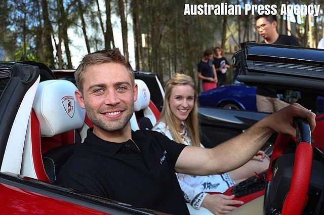 U.S. actor Cody Walker and wife Felicia in Sydney attending a charity car event in memory of his late brother Paul Walker and VIP Screening of the Fat... - Australian Press Agency (@australianpressagency)