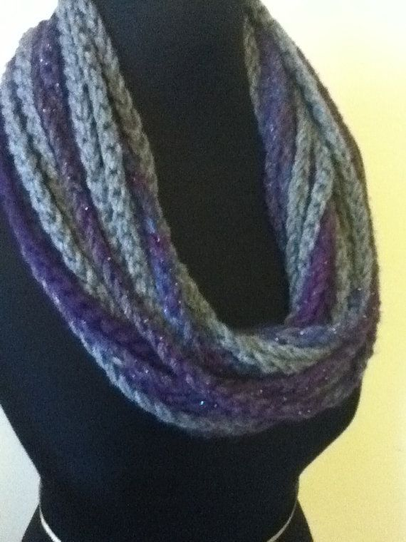 Free Shipping: Purple, Blue & Silver Infinity Scarf