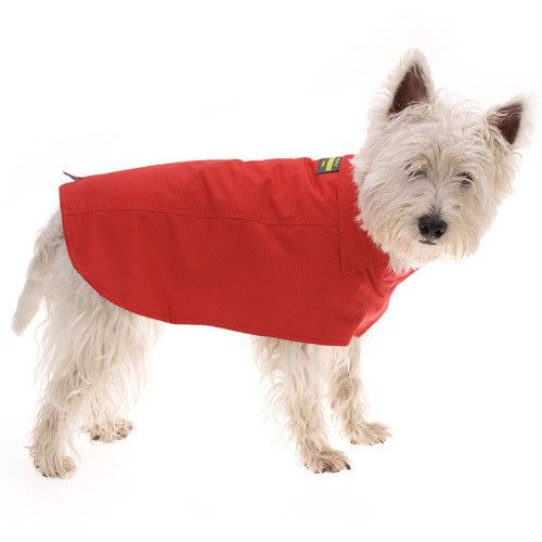 This rich red raincoat is a wardrobe essential for those rainy days and chilly walks. Rainproof, fully lined in lightly padded quilted cotton fabric for extra warmth and comfort.    This classic design has a collar, Velcro fastenings and a clever V - cut out for a good fit around the tail.  Measure length of dog's back from back of neck to base of tail then select which length your dog needs.Available in 6 sizes for small to large dogs. Outer Shell: 100% nylon. Lining 100% cotton.