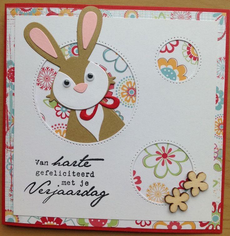 Daar is het konijntje weer. Dit keer een verjaardagskaartje voor een kind. Ik heb hem half uit het gat laten komen. Kiekeboe. Groetje...