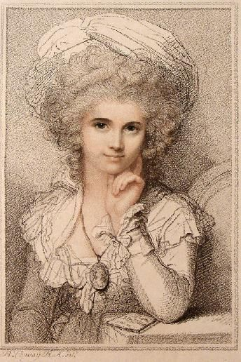 """Maria Cosway, by her husband, miniaturist Richard. Before 1821. She and her huband opened a fashionable salon in Pall Mall, London, where she proved extremely popular--""""the Goddess of Pall-Mall.  Had one child, Louisa Paolina Angelica, who died age 10; the couple separated.  Friends w/Napoleon, his uncle Cardinal Fesch.Formed attachment to T. Jefferson. This scants her work; read about her!"""