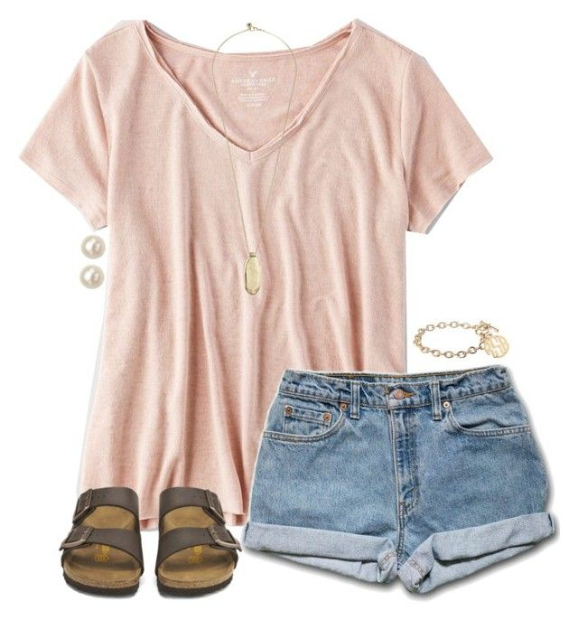 """""""••"""" by simply-preppy-girl ❤ liked on Polyvore featuring American Eagle Outfitters, Birkenstock, Sam Edelman, Honora and Alison & Ivy"""