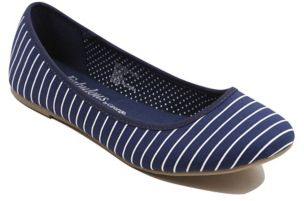 Striped Canvas Ballet Shoes - Navy