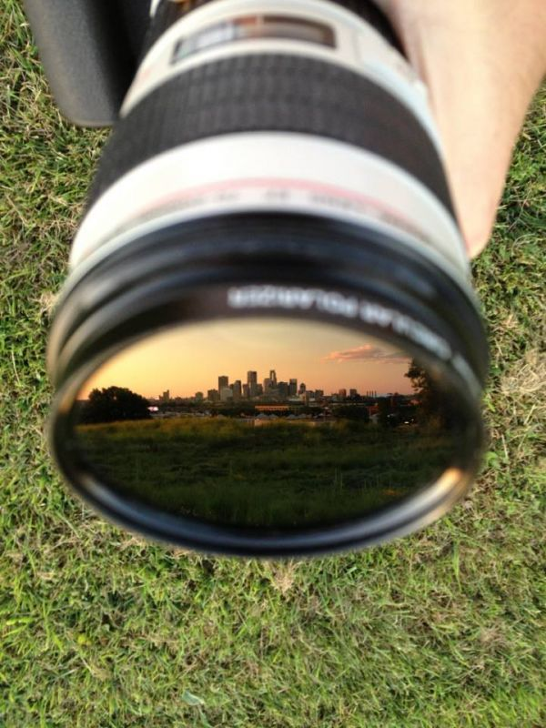 Minneapolis Skyline Reflected in a Lens