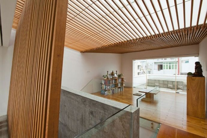 open wood slats wall ceiling Architectural Details