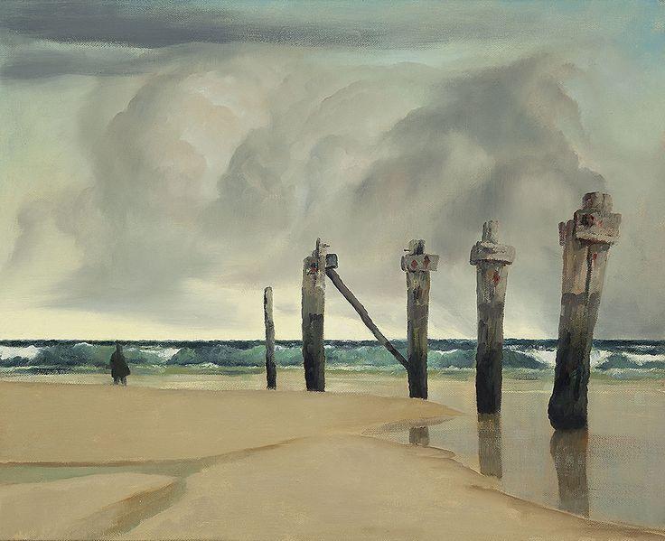 Rick Amor (Australian, b. 1948), Remnant Pier, 2001. Oil on canvas, 65 x 80 cm.