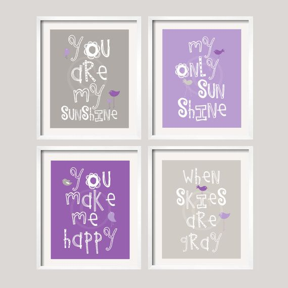 You Are My Sunshine Art Prints - Purple and Gray for Quinn Bedding - 8x10 wall art, baby shower gift, boy and girl colors