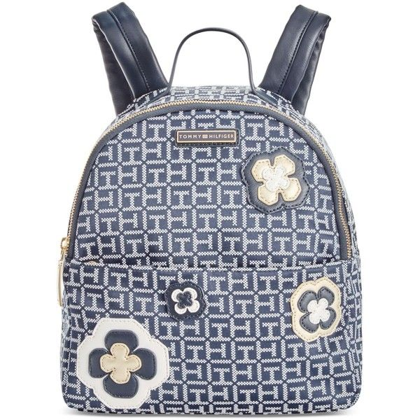 Tommy Hilfiger Embellished Monogram Jacquard Small Backpack (890 GTQ) ❤ liked on Polyvore featuring bags, backpacks, tommy hilfiger, rucksack bags, backpack bags, sling bag and monogrammed bags