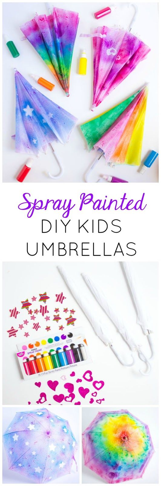 Make DIY kids umbrellas in a rainbow of colors with fabric spray paint!-What You'll Need:    DIY White Umbrellas  Tulip Fabric Spray Paint  Fabulous Foam Self-Adhesive Hearts  Fabulous Foam Self-Adhesive Stars