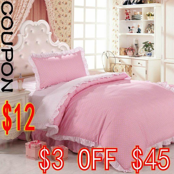 3 pièces ensemble de literie rose et blanc à volants. home textiles lit matelas équipés sirène, design fl...