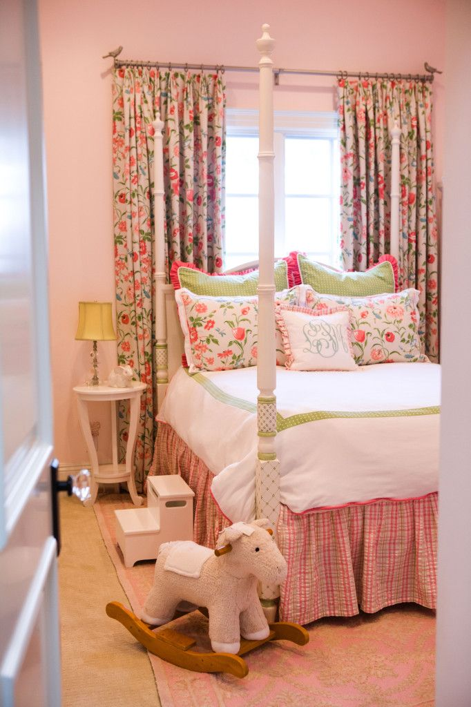 Four Poster Bed in Traditiona Pink and Green Classic Preppy Girl's Room with Floral Window Treatment