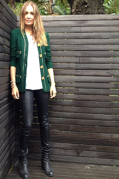 """""""On my way to a luncheon to celebrate 'Fabulous At Every Age' and looking perhaps a little too blonde in this light!! Wearing emerald green vintage Chanel boucle jacket (a very generous gift from Karl Lagerfeld!), cotton tank, leather pants, House Of Harlow gold cuff & my favourite Acne 'Pistol' boots."""""""