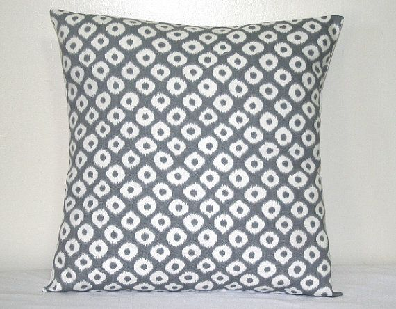 Gray and White Ikat Circles Geometric Robert Allen Decorative Pillow Cushion Cover Accent Pillow