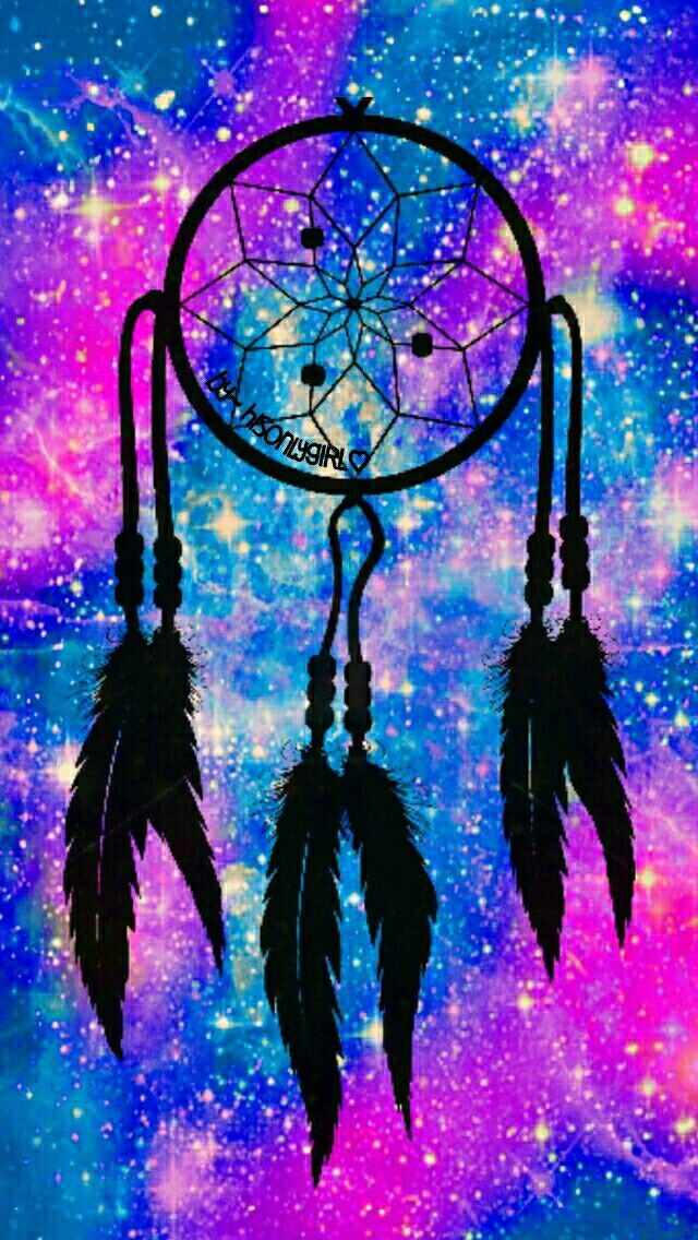 Blue & purple/pink dreamcatcher galaxy wallpaper I created for the app CocoPPa.