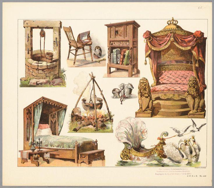 Bouwplaat in kleur van een papieren theater voorstellende 8 zetstukken met bedden, waterput, kampvuur, kast en door zwanen voortgetrokken boot
