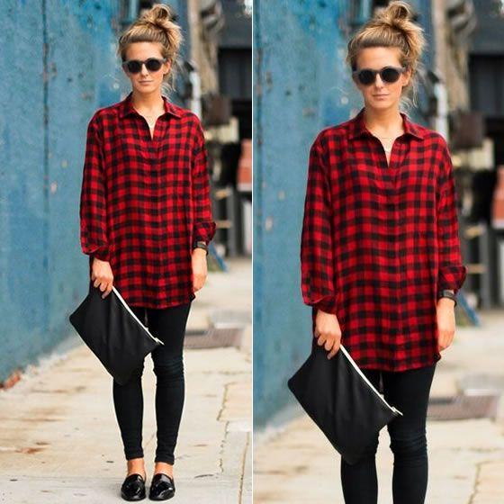 Look de calça preta + camisa xadrez