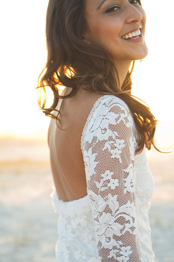 Long lace sleeve wedding dress with stunning low back and silk chiffon train on Etsy, $1,346.25