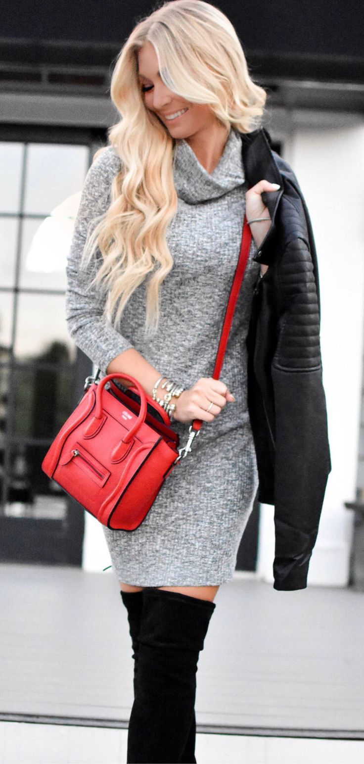 #fall #outfits women's grey elbow sleeve turtleneck mini dress and red leather 2-way handbag