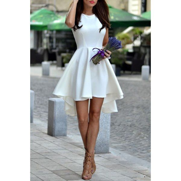Graceful Sleeveless Asymmetrical White Dress