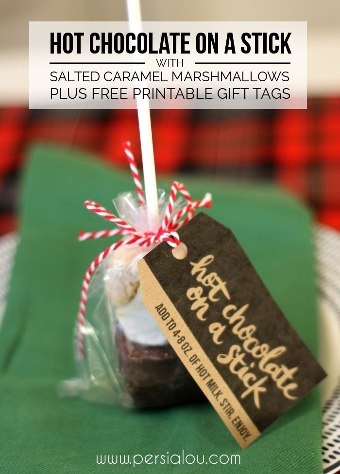 Hot Chocolate on a Stick With Salted Caramel Marshmallows plus free printable tags