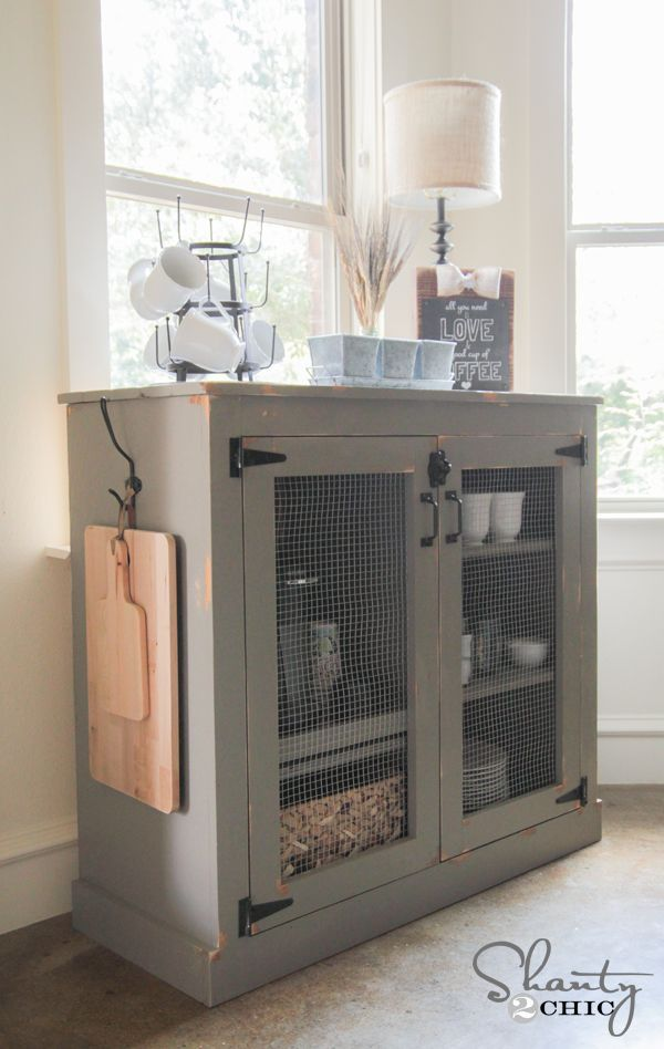 Now if you are looking for a Farmhouse Fresh place to store all of your coffee sundries including Coffee Maker and all the fixings and you like to work with wood…the girls over at Shanty 2 Chic have plans for this beauty. What a great addition to your kitchen this would make…stain it…paint it…give it …