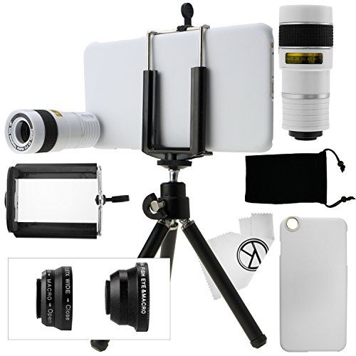 awesome iPhone 6 Plus Camera Lens Kit including an 8x Telephoto Lens / Fisheye Lens / 2 in 1 Macro Lens and Wide Angle Lens / Mini Tripod / Universal Phone Holder / Hard Case for Apple iPhone 6 Plus / Velvet Phone Bag / CamKix Microfiber Cleaning Cloth - Awesome Accessories and Attachments for Your iPhone 6 Plus Camera (White) Capture Amazing Images Wherever You Go The CamKix 4-in-1 lens kit is a pocket-sized photography powerhouse. With four different lenses designed to en…