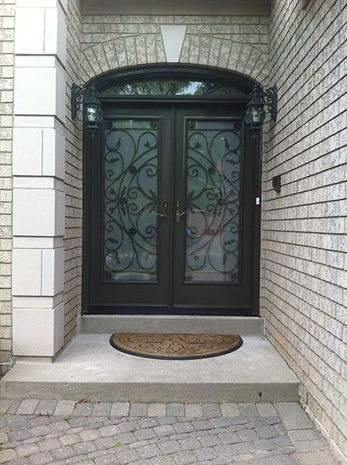 Front Entry Doors Wrought Iron Fiberglass Julieta Design Doorswith Arch Transom And Frosted Glass Installed By Windows Toronto In