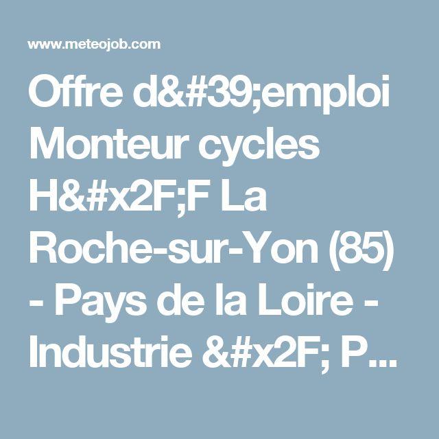 Offre d'emploi Monteur cycles H/F La Roche-sur-Yon (85) - Pays de la Loire - Industrie / Production autres - Intérim - AA7393SU - Meteojob.com