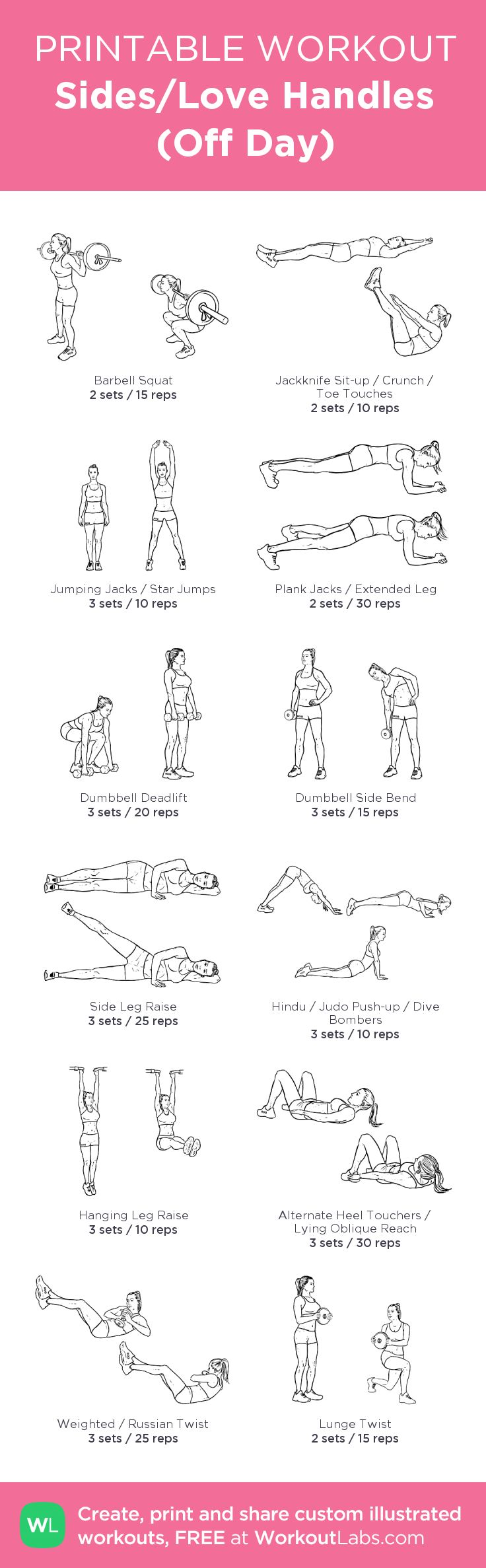 Sides/Love Handles (Off Day) : my visual workout created at WorkoutLabs.com • Click through to customize and download as a FREE PDF! #customworkout