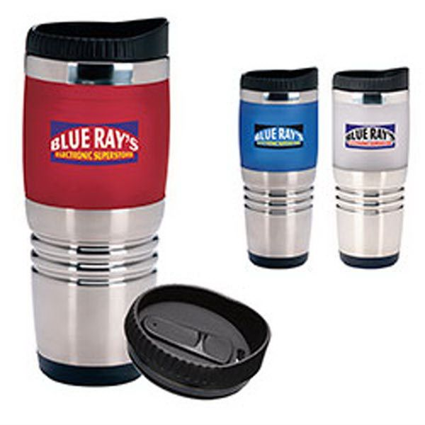 "Morning coffee tastes better in a Combo Ridge Tumbler. Made of combination acrylic/satin-finish and stainless steel outer with acrylic liner; it has leak resistant slider lid and 16 oz capacity when filled to rim. Measuring 3 1/4""w x 7 5/8""h; add your logo to this exclusive item. We've fused two favorites into this one great mug! The combination acrylic/satin-finish and stainless steel looks good and feels great. Imprint may distort near parting line."