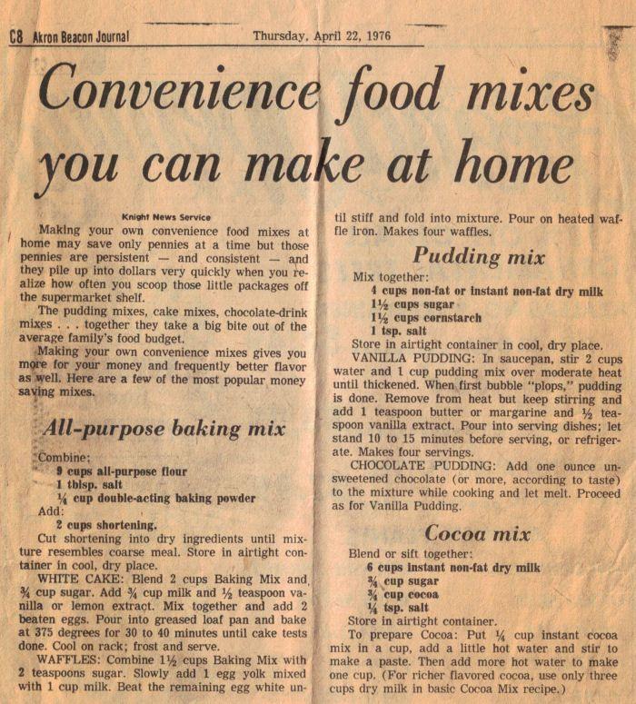 Convenience Food Mixes Recipes Newspaper Clipping