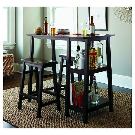 3 Piece Wooden Pub Set with Saddle Stools and Shelving - Threshold™ : Target