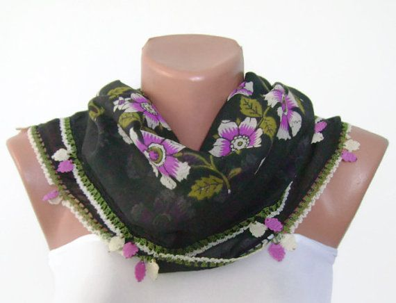 Turkish Black Oya Scarf, Hand Painting, Square, Hand Crocheted Lace, Ethnic