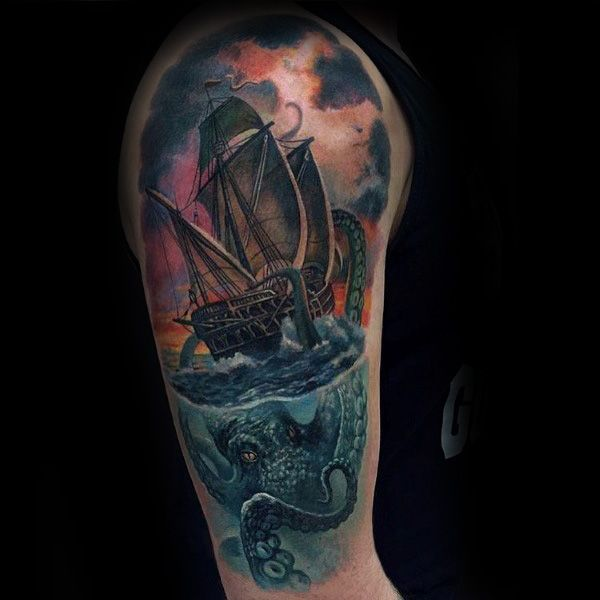 100 Glowing Color Tattoo Designs To Ink: 100 Kraken Tattoo Designs For Men