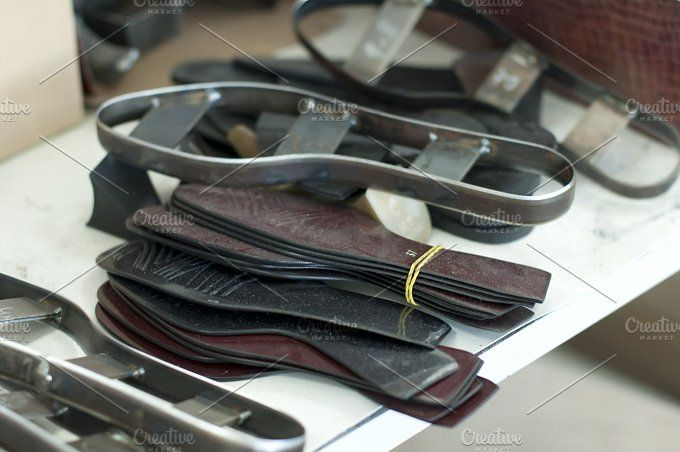 Cutting leather for shoes by Deyan Georgiev  on @creativemarket