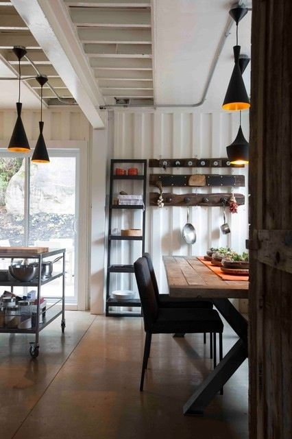 Container House Interior   Mix Of White Walls With Warm Wood