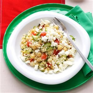 Couscous Tabbouleh with Fresh Mint & Feta Recipe -Using couscous instead of bulgur for tabbouleh really speeds up the process of making this colorful salad. Other quick-cooking grains such as barley or quinoa work well too. —Elodie Rosinovsky, Brighton, Massachusetts