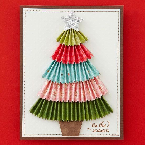 DIY Homemade Christmas Tree Card -fold accordion style after trimming the sides with decorative scissors, layer them etc. easy peasy! (I bet you could also cut some paper cupcake cups & use those instead)