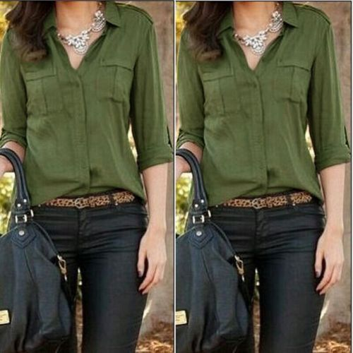 Fashion-Women-Button-Down-Shirt-Casual-Long-Sleeve-Slim-T-shirt-Tops-Blouse-NEW