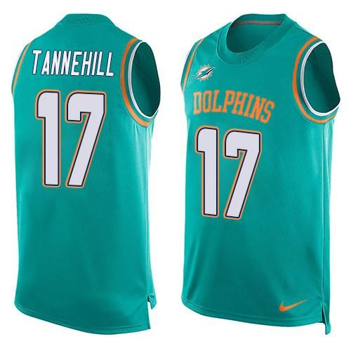 Nike Dolphins #17 Ryan Tannehill Aqua Green Team Color Men's Stitched NFL Limited Tank Top Jersey