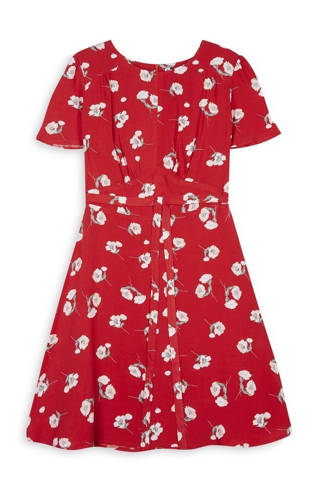 7067b9d7f9 PRIMARK NEW COLLECTION Red Floral Print Tea Dress UK 14