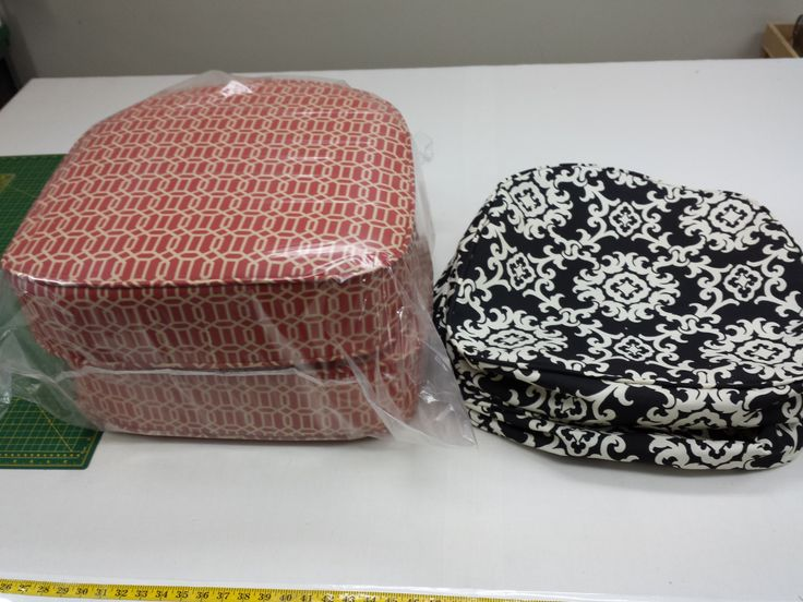 Custom outdoor cushions - in two colours for my customer.  Provide a paper template and I will make the cushion the exact size.