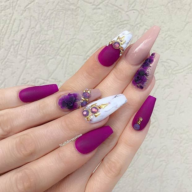 21 Gorgeous Floral Nail Designs for Spring: #2. PURPLE BLOOMS AND BLING - Best 25+ Exotic Nail Designs Ideas On Pinterest Exotic Nails
