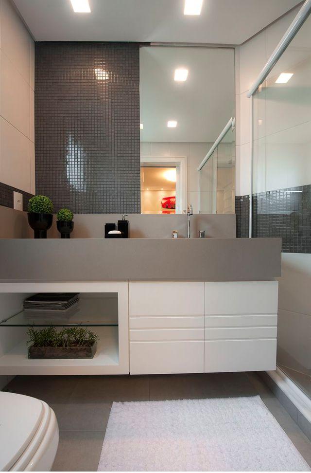 Decor Salteado - Blog de Decoração e Arquitetura : Lavabos cinzas modernos - veja modelos maravilhosos e dicas!