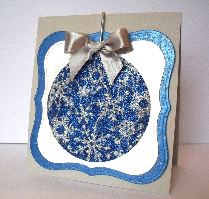 """from Bird's Cards: tutorial on using brass stencils and Impressabilities with the burnished velvet glitter technique. One of those """"why didn't I think of that?"""" moments! Snowflake Impressability Bauble"""