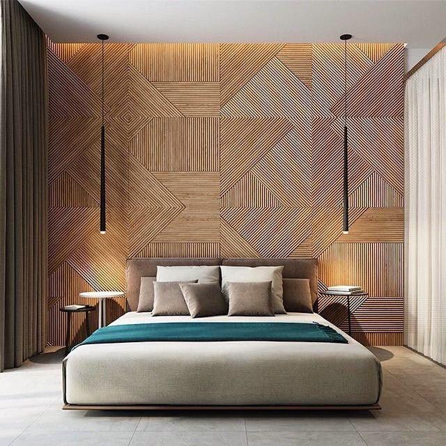 Mural, géométrie, bois, chambre